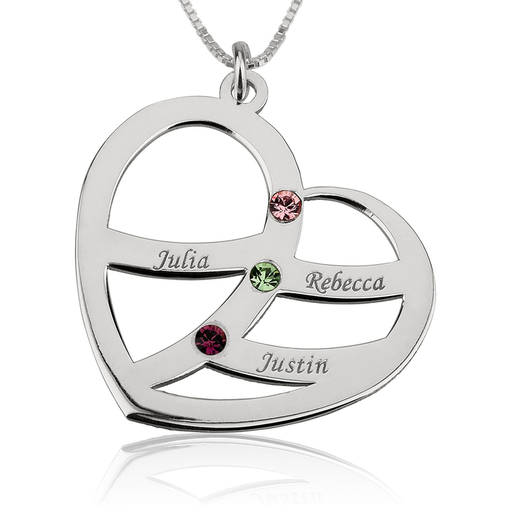 Name and Birthstone Heart Necklace for Mom - Picture 2