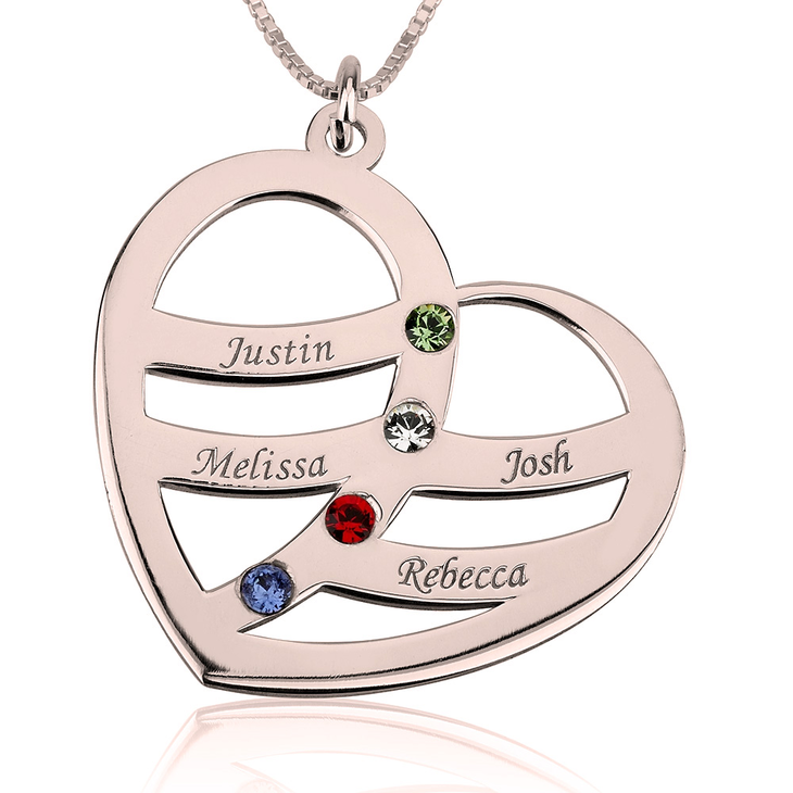 Name and Birthstone Heart Necklace for Mom  - Picture 3