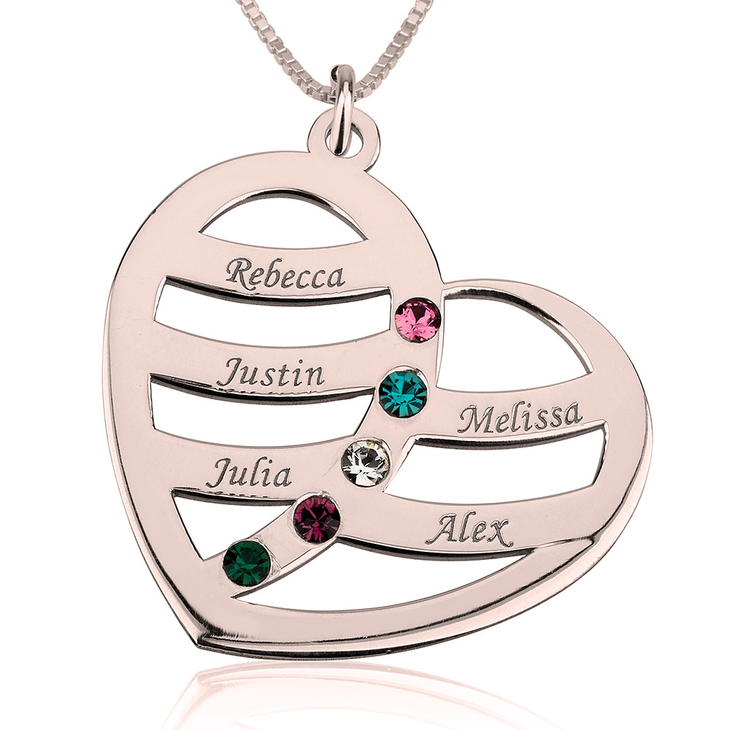 Name and Birthstone Heart Necklace for Mom - Picture 4