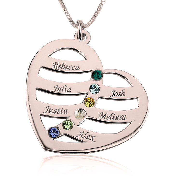 Name and Birthstone Heart Necklace for Mom  - Picture 5