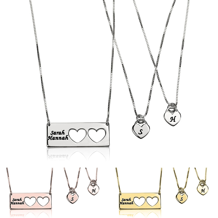 Mother Daughter Name Necklace Set