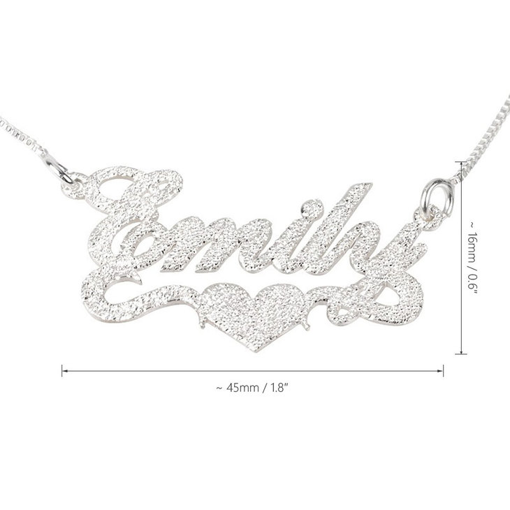 Sparkle Name Necklace with Heart - Information