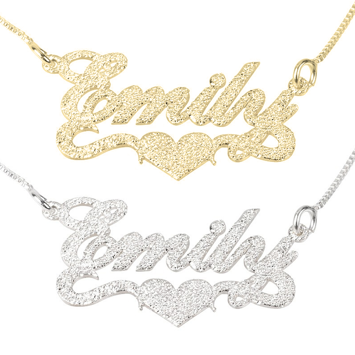 Sparkling Name Necklace with Heart