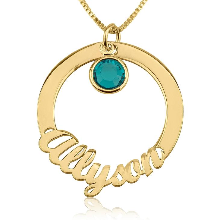 Circle Name Necklace with Swarovski