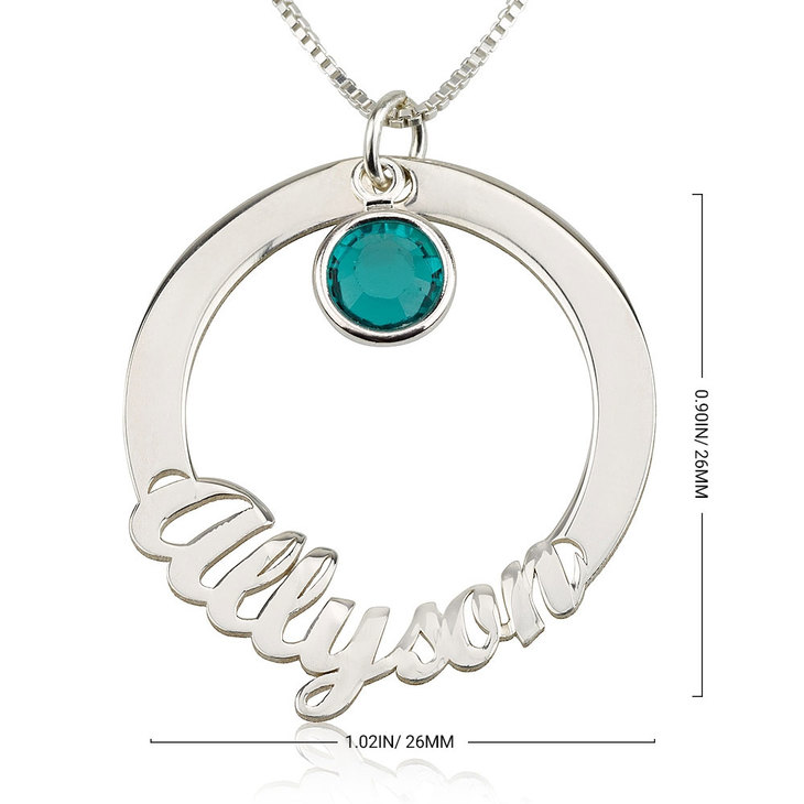 Circle Name Necklace with Swarovski - Information