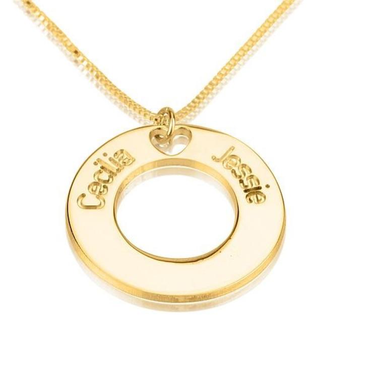 Collier Cercle avec Deux Prénoms