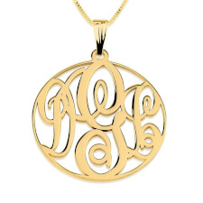 24k Gold Plated Circle Monogram Necklace