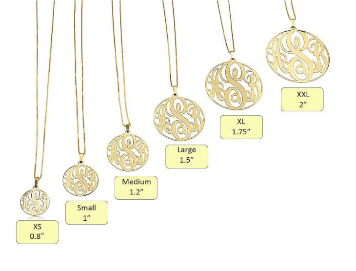 24k Gold Plated Circle Monogram Necklace  - Picture 2