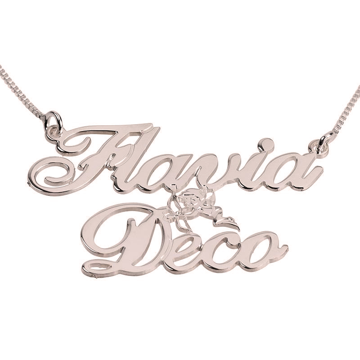 Two Name with Cupid Necklace