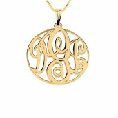 24k Gold Plated Medium Circle Monogram Necklace