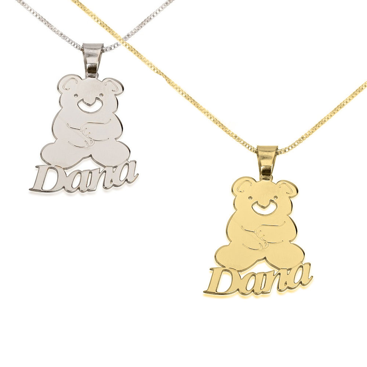 Teddy Bear Pendant with Name