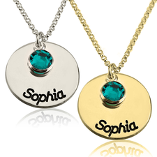 Birthstone Disc Necklace
