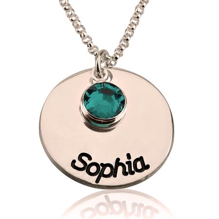 collier prenom avec pierre de naissance