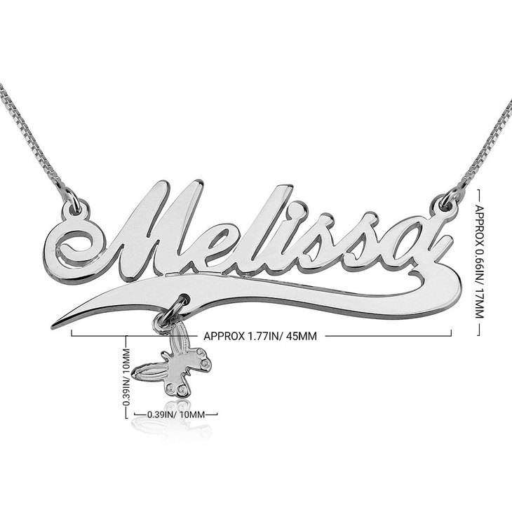 Name Necklace with Line and Charm - Information