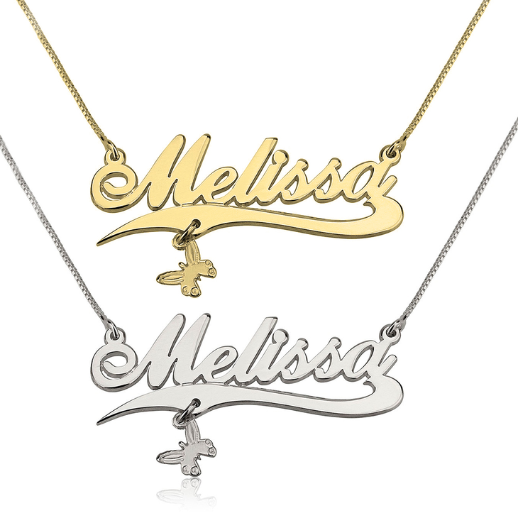 Name Necklace with Line and Charm