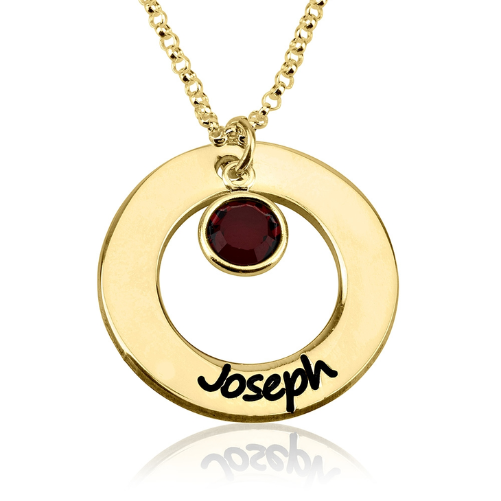 Circle Name Necklace with Birthstone