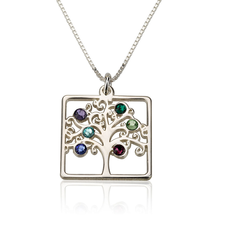 Cube Birthstone Family Tree Necklace