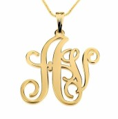 24k Gold Plated Two Letters Large-Small Monogram Necklace