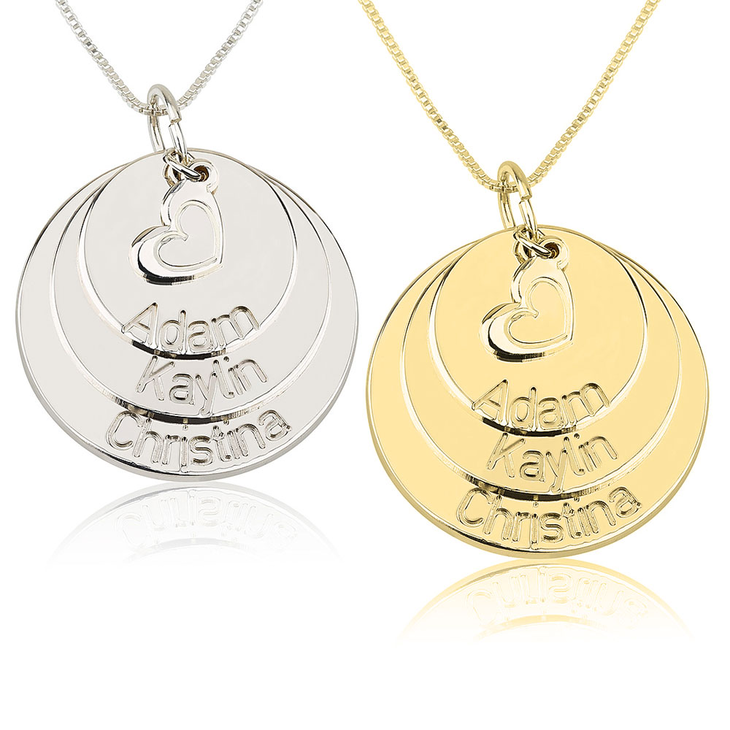 Mom Disc Necklace With Heart