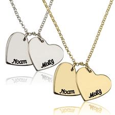 Collier Deux Cœurs Gravés