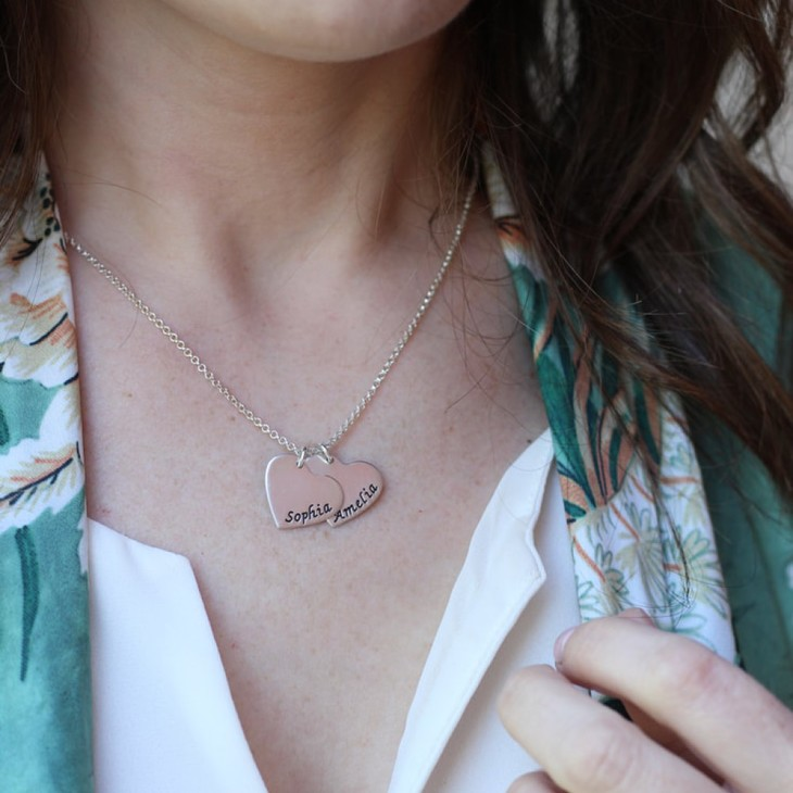 Two Hearts Necklace - Model