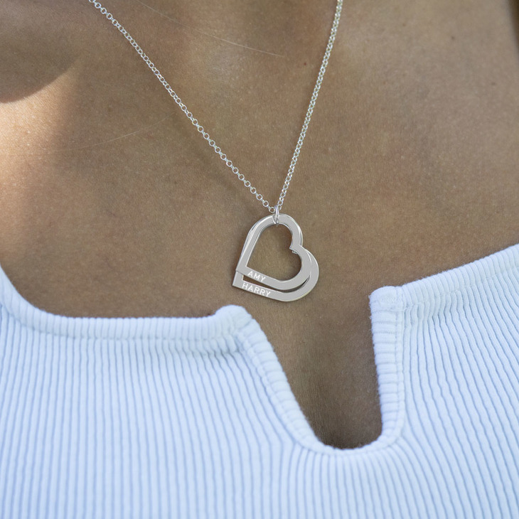 Mother's Heart Necklace - Model