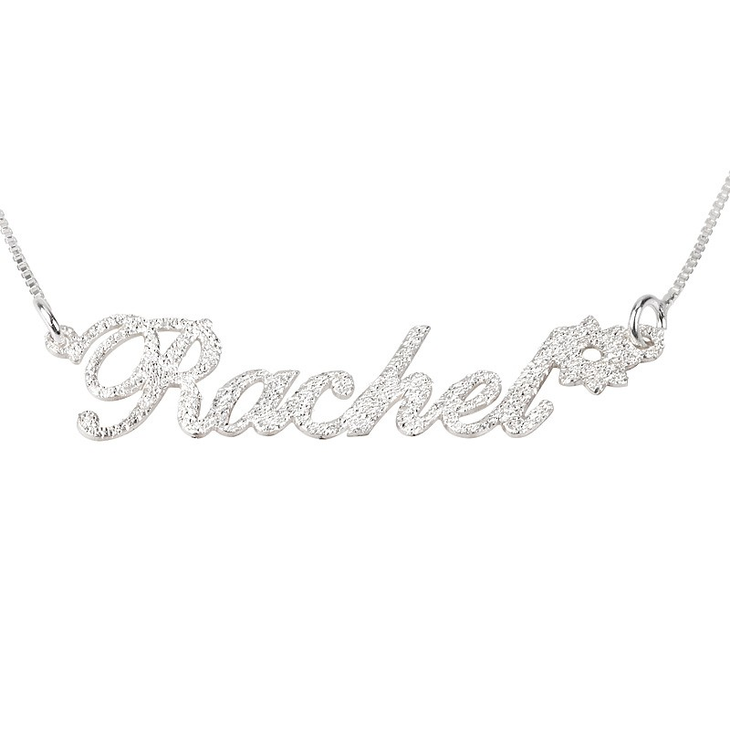 Sparkling Name Necklace with Flower