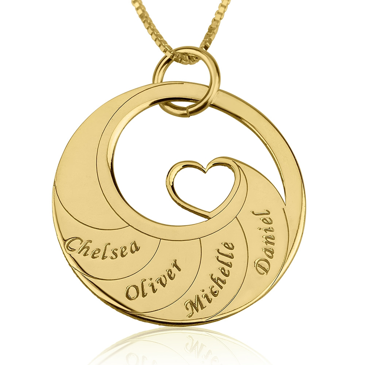 Mother's Heart Necklace With Engraved Names  - Picture 3