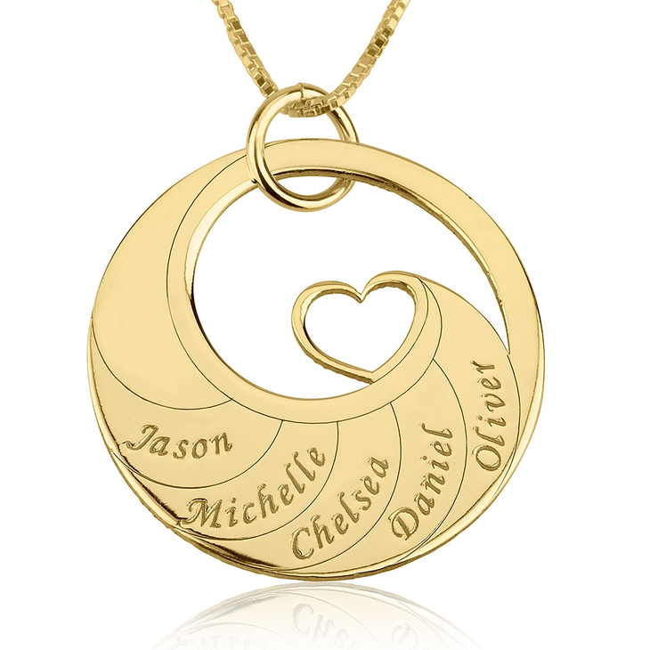 Mother's Heart Necklace With Engraved Names  - Picture 4