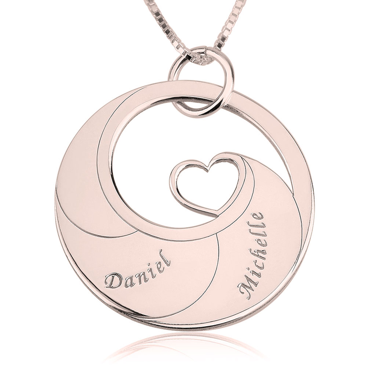 Mother's Heart Necklace With Engraved Names  - Picture 2