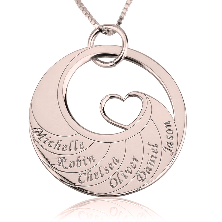 Mother's Heart Necklace With Engraved Names  - Picture 5