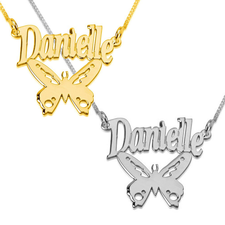 Name Necklace with Butterfly