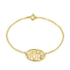 24k Gold Plated Circle Monogram Bracelet