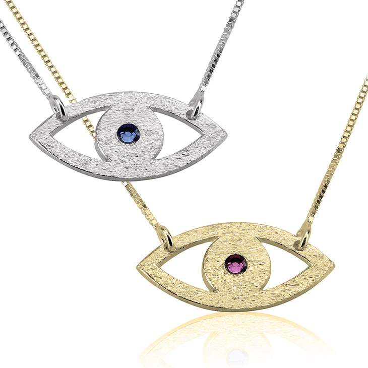 Evil Eye Necklace With Birthstone