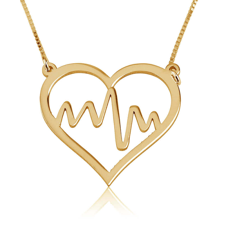 Heartbeat Necklace With Heart