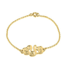 24k Gold Plated Monogram Bracelet