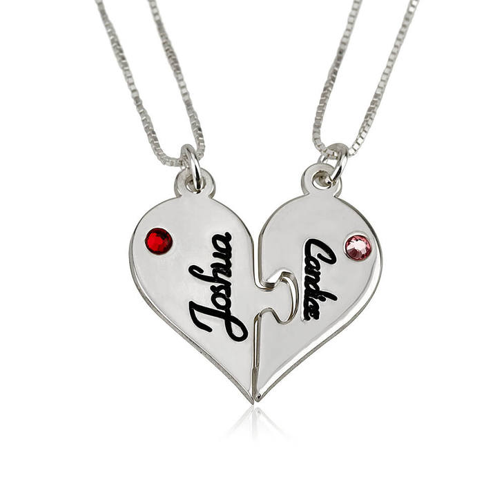 Two Half Heart Necklaces