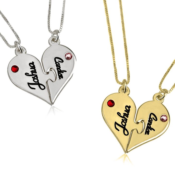 Two half heart necklaces two heart necklace splits two heart necklace splits aloadofball Image collections