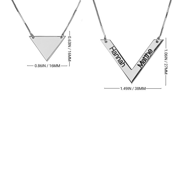 Chevron Necklace With Names - Information