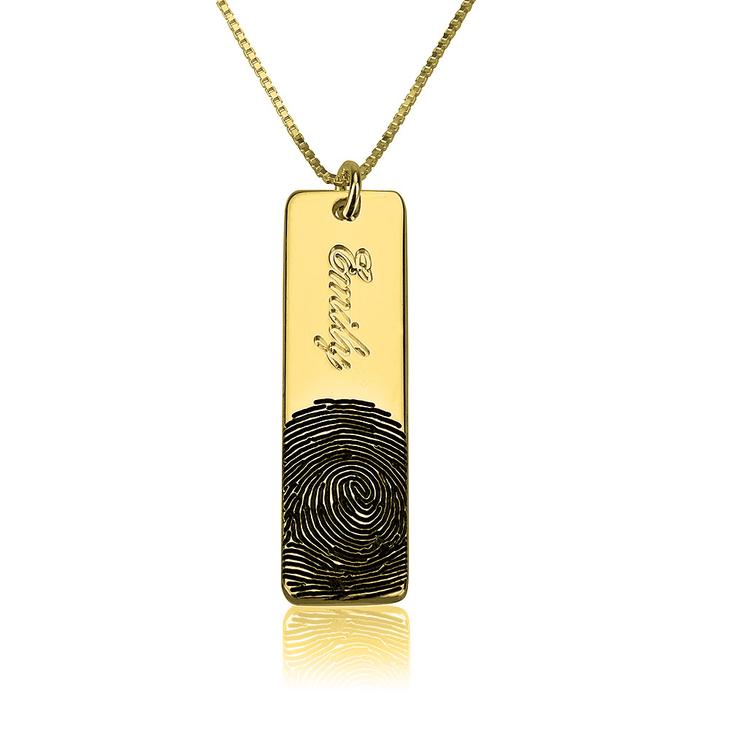 Fingerprint Name Bar Necklace