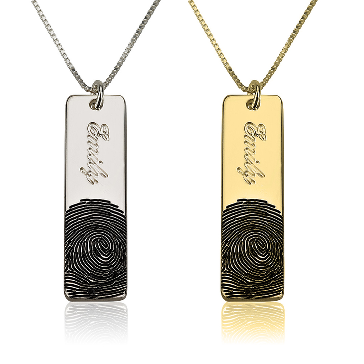 Fingerprint Name Bar Necklace