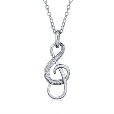 Treble Clef Necklace With Cubic Zirconia