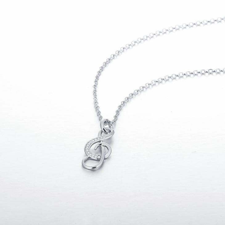 Treble Clef Necklace With Cubic Zirconia  - Picture 2