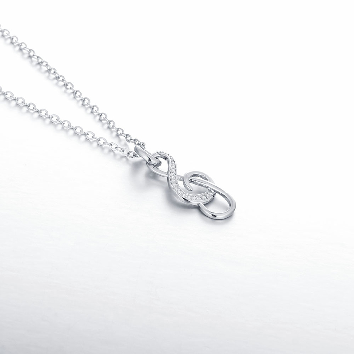 Treble Clef Necklace With Cubic Zirconia  - Picture 3