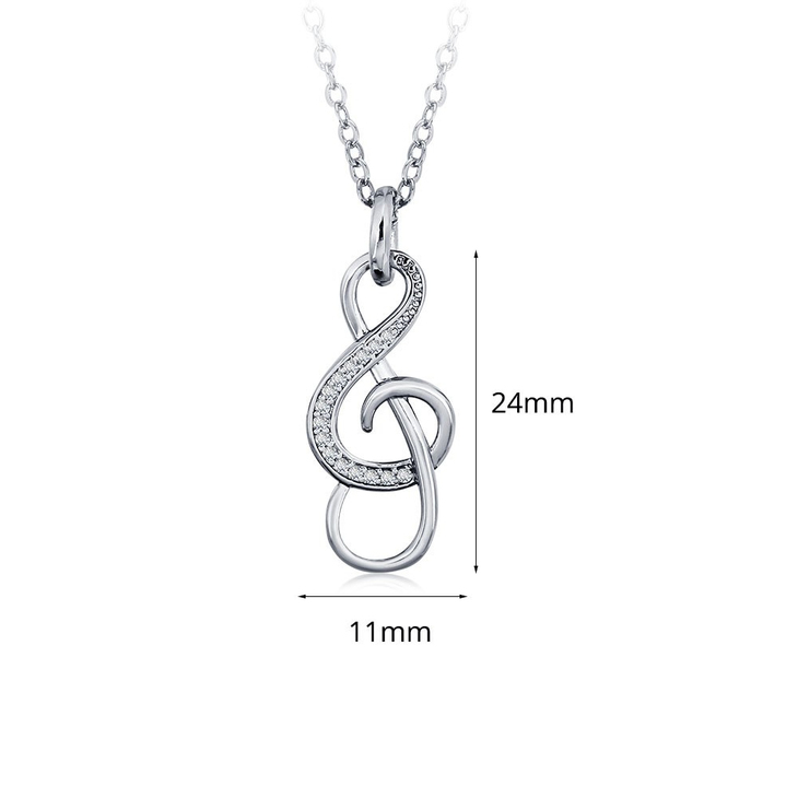 Treble Clef Necklace With Cubic Zirconia - Information