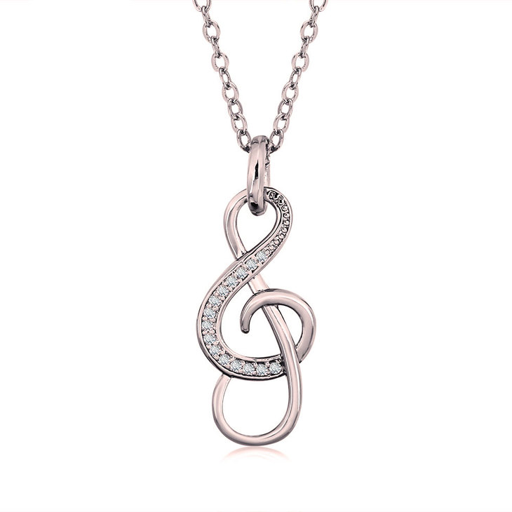 Treble Clef Necklace With Cubic Zirconia