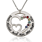 Engraved Birthstone Necklace for Mom - Thumb