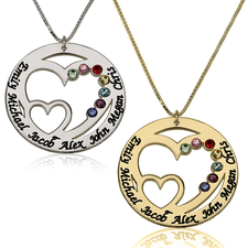 Engraved Birthstone Necklace for Mom