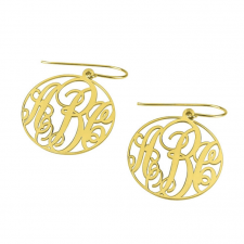 24k Gold Plated Monogram Earrings