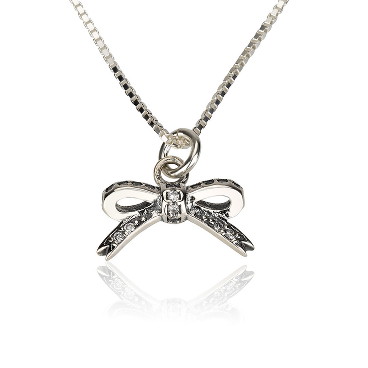 Cubic Zirconia Bow Necklace